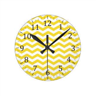 Yellow Tight Chevron Pattern Round Clock