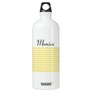 Yellow Tight Chevron Pattern Water Bottle
