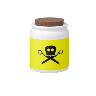 Yellow Tip Jar Skull with Shears Candy Jars