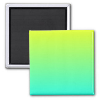 Yellow to Aqua Gradient 2 Inch Square Magnet