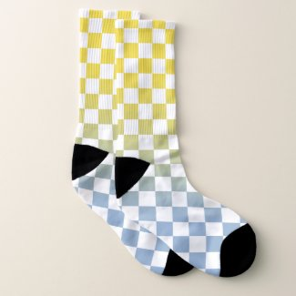 Yellow to Light Blue and White Checkered Pattern Socks