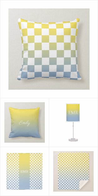 Yellow to Light Blue Gradient Home Decor