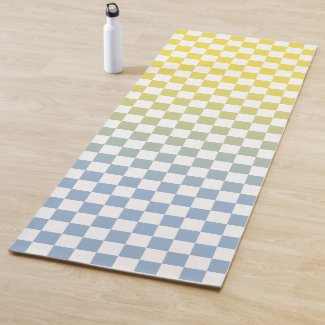 Yellow to Light Blue Ombré Checkered Pattern Yoga Mat