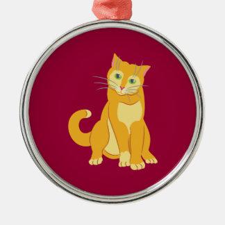 Yellow Tom Cat Metal Ornament