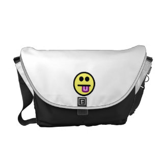 Yellow Tongue Out Smiley Face Courier Bag