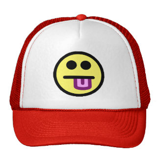 Yellow Tongue Out Smiley Face Mesh Hats