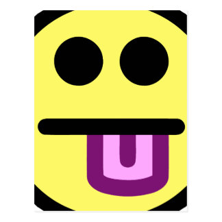 Yellow Tongue Out Smiley Face Postcard