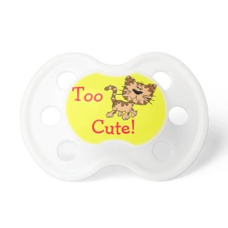 "Yellow ""Too Cute"" Cat Pacifier"