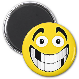 Yellow Toothless Grin Smiley Face Magnet