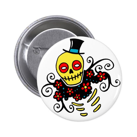 Yellow Top Hat Skeleton Button