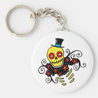 Yellow Top Hat Skeleton Key Chain