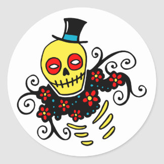 Yellow Top Hat Skeleton Classic Round Sticker