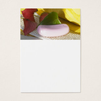Yellow towel and soap business card