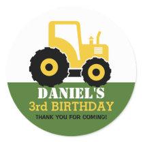 Yellow Tractor Cartoon Kids Birthday Party Sticker
