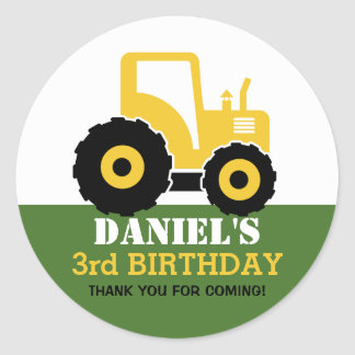 Yellow Tractor Cartoon Kids Birthday Party Sticker