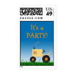 Yellow Tractor Party Postage Stamp