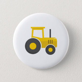 Yellow Tractor Pinback Button
