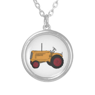 Yellow Tractor Silver Plated Necklace