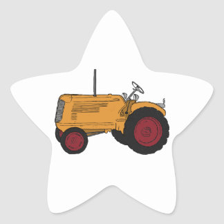 Yellow Tractor Star Sticker