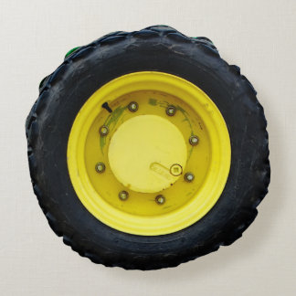 yellow  tractor wheel tire round pillow