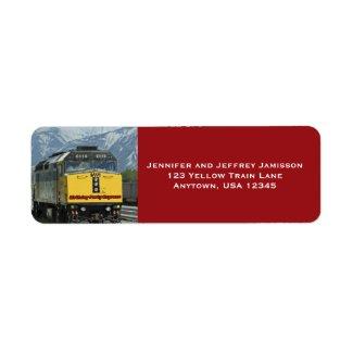 Yellow Train Birthday Return Address Labels