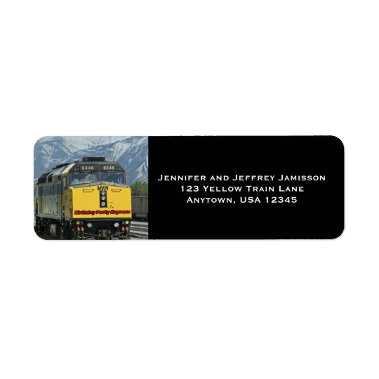 yellow train birthday return address labels black zazzle com