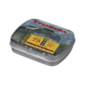 Yellow Train Party Favor 75th Birthday Candy Jelly Belly Candy Tin