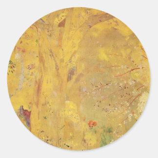 Yellow Tree by Odilon Redon Round Sticker