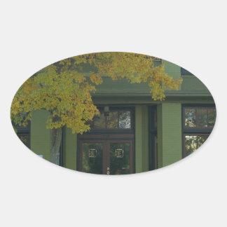 Yellow Tree Green Store Oval Sticker