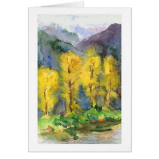 Yellow trees and stormy mountains card