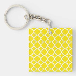 Yellow Trellis Design Square Acrylic Key Chains