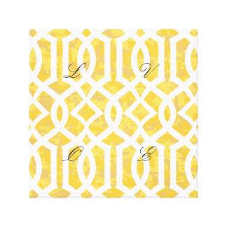 yellow, trellis,moroccan,pattern,trendy,girly,fun, canvas print