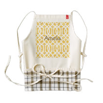 yellow, trellis,moroccan,pattern,trendy,girly,fun, zazzle HEART apron