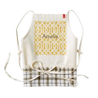 yellow, trellis,moroccan,pattern,trendy,girly,fun, zazzle HEART apron