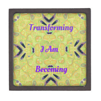 """Yellow Trendy """"I Am Transforming"""" Abstract Hip Des Gift Box"""