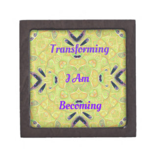 "Yellow Trendy ""I Am Transforming"" Abstract Hip Des Jewelry Box"