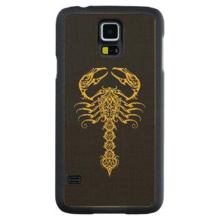Yellow Tribal Scorpion on Black Carved Maple Galaxy S5 Slim Case