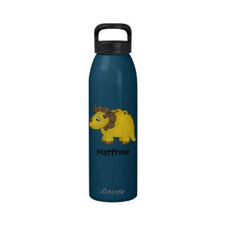 Yellow Triceratops Dinosaur Personalized Kids Water Bottles