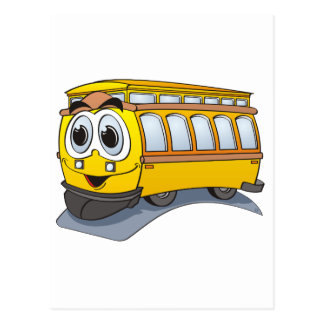 Yellow Trolley Cartoon Postcard