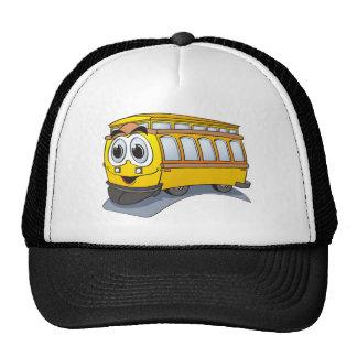 Yellow Trolley Cartoon Trucker Hat