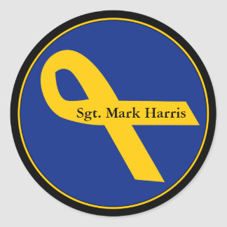 Yellow Troops Ribbon Classic Round Sticker
