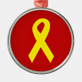 Yellow Troops Ribbon Metal Ornament