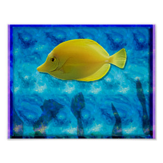 Yellow Tropical Fish Poster