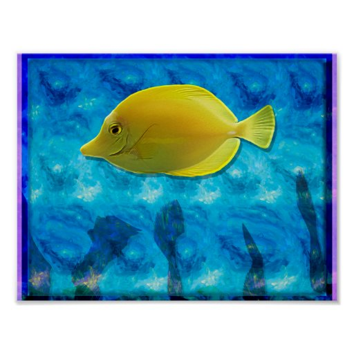 Yellow tropical fish poster zazzle for Polygonalplatten quarzit tropical yellow