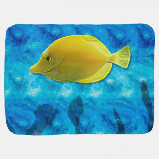 Yellow Tropical Fish Receiving Blanket