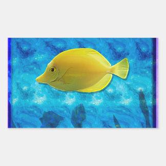 Yellow Tropical Fish Rectangular Sticker