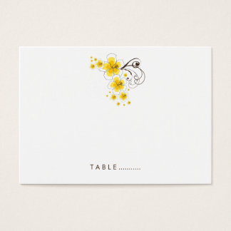 Yellow Tropical Hibiscus Beach Wedding Place Card