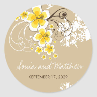 Yellow Tropical Hibiscus Beach Wedding Stickers