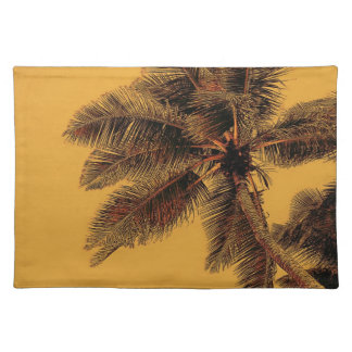 yellow tropical palm tree place mat