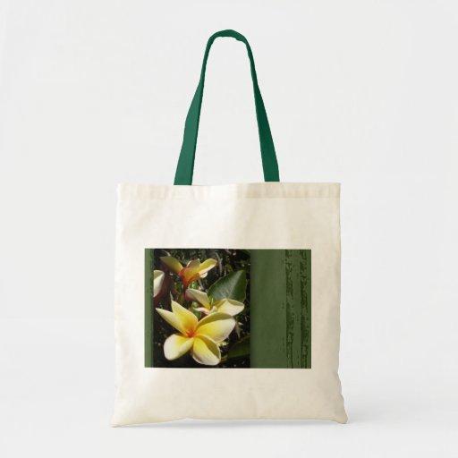 Yellow tropical plumeria flower budget tote bag